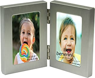 benerini - Brushed Aluminum Satin Silver Color - Miniature Twin 2 Picture Vertical Double Folding Photo Frame - Takes 2 Photos of 1.5 x 2.5 Inches (4 x 6.5 cm) (Portrait Style)