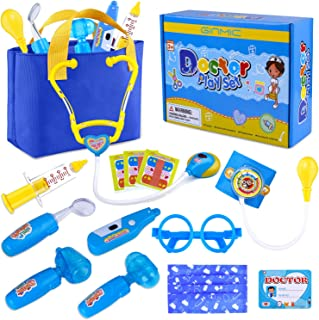 GINMIC Kids Doctor Play Kit, Pretend Play Doctor Set with Roleplay Doctor Costume and Medical Bag for Toddlers and Kids Dr...
