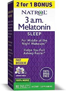 Natrol 3 a.m. Melatonin Sleep Aid, Lavender Vanilla Flavor, 60 Fast Dissolve Tablets