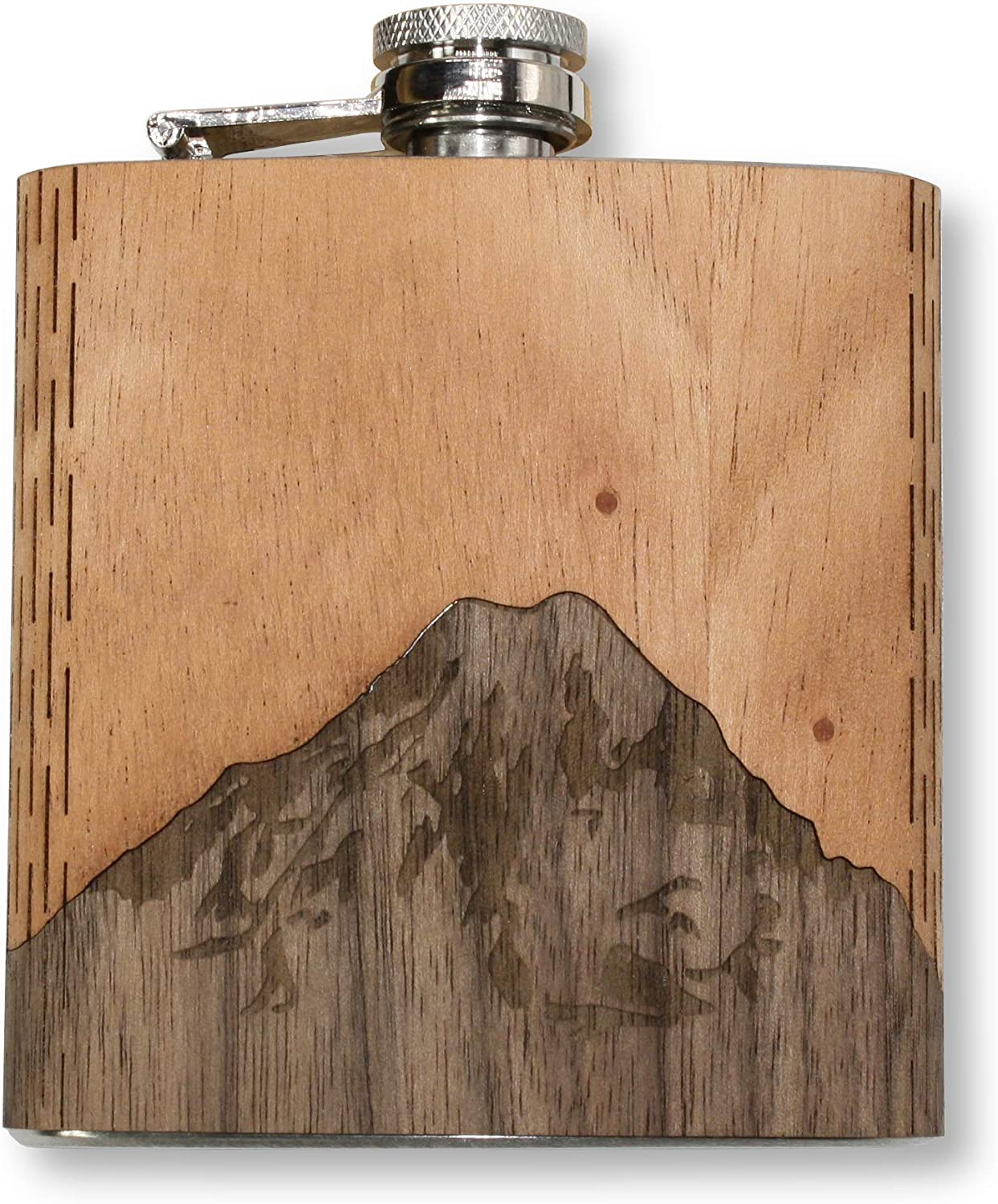 WUDN 6 oz. Wooden Hip Flask Mt. - Steel Rainier Stainless Body 正規品スーパーSALE×店内全品キャンペーン 正規店