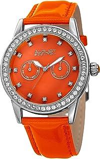 august steiner Women 's acero inoxidable y piel Casual reloj de cuarzo, color: naranja (modelo: as8234or)
