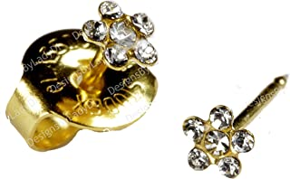 Ear Piercing Earrings SHORT POST Baby Studs Gold Clear Daisy Studex System 75 Hypoallergenic