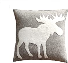 Arcadia Home Hand Felted Wool Pillow-Cream Moose Silhouette on Gray-20 Decorative Pillow, Gray