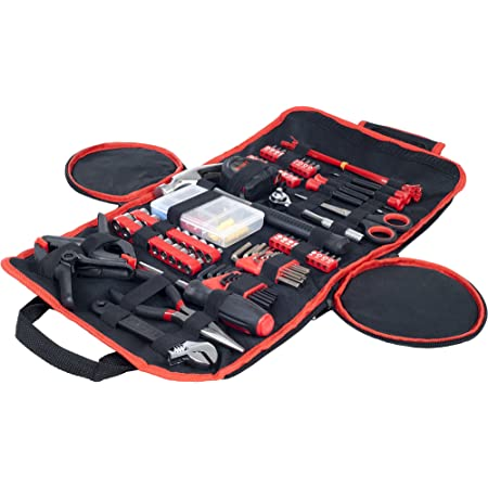 Stalwart - 75-HT1086 Household Hand Tools, 86 Piece Tool Set With Roll-Up Bag by , (Hammer, Wrench Set, Screwdriver Set, Pliers) - Great for the Home or Car Red