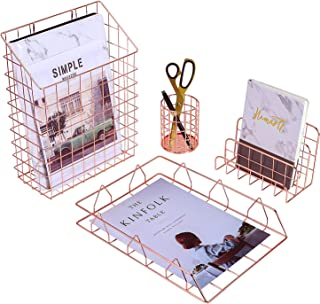 $21 » Simmer Stone Rose Gold Office Supplies, 4 in 1 Decorative Accessories Organizer, File Holder Basket, Letter Sorter, Pen Holder and Desk Tray
