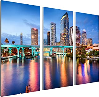 "Pingo World 0817QILMTYA Tampa Downtown Skyline Panoramic Gallery Wrapped Canvas Wall Art Triptych 48""x30"", 48"" x 30"", Vari..."