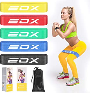 EOX Exercise Resistance Fabric Bands, Non-Slip Resistance Loop Bands for Legs & Butt and Glutes, 5 Resistance Levels Fabric Training Bands with A Carry Bag