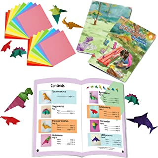 Intermediate Level Dinosaur Origami Kit - Craft kit of Origami Dinosaurs Book (8.26 x 11 inches) with 120 Sheets 2 Packs o...