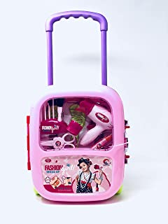 JOYSAE Fashion Dress up Girls Beauty Salon Play Trolley case Set with Hairdryer, Curling Iron, Comb,ScissorsMirror & Cosme...