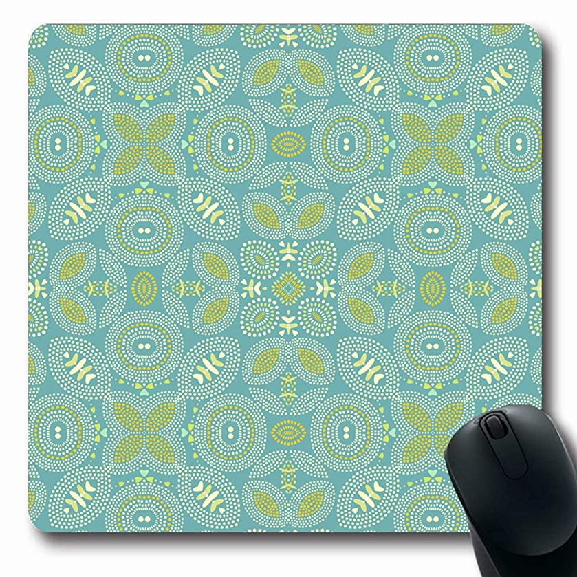 Ahawoso Mousepads for Computers Art Wall Abstract Geometric Wave Pattern Floral Indian Ribbon Thai Handicraft Oblong Shape 7.9 x 9.5 Inches Non-Slip Oblong Gaming Mouse Pad