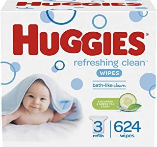 HUGGIES Refreshing Clean Scented Baby Wipes, Hypoallergenic, 3 Refill Packs (624 Total Wipes), Size 1