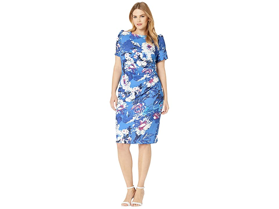 Adrianna Papell Plus Size Floral Elbow Sleeve Side Draped Sheath Dress (Blue Multi) Women