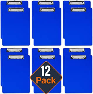 Plastic Clipboards (Set of 12) Multi Pack Clipboard (Blue) Strong 12.5 x 9 Inch | Holds 100 Sheets! Acrylic Clipboards with Low Profile Clip | Cute Clip Boards Board Clips