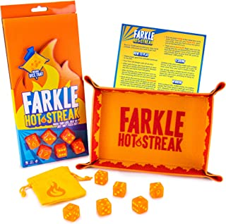 Farkle Hot Streak: Fast, Frenetic Family Dice Game | Set Includes 6 Dice, Premium Bicast Leather Dice Tray, Dice Pouch, and Rules Card with Advanced Scoring