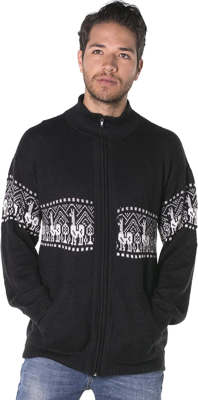 Gamboa - Alpaca Cardigan - Turtleneck Cardigan - Black with White Details