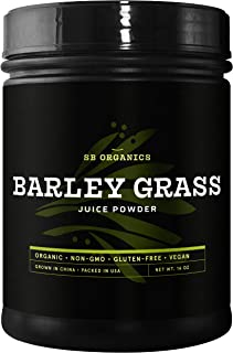 SB Organics Barley Grass Juice Powder - USDA Organic Antioxidant Superfood with Vitamins, Minerals, Chlorophyll - 16 oz.