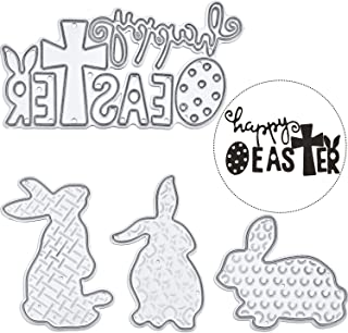 Pangda Happy Easter Letter Cutting Dies and Bunny Rabbit Metal Stencil Template for DIY Scrapbook Album Paper Card Embossing, 4 Pieces Totally (Set 2)