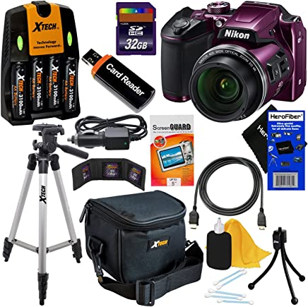 Nikon COOLPIX B500 Wi-Fi, NFC Digital Camera w/40x Zoom & HD Video (Plum) - International Version (No Warranty) + 4 AA Batteries with Charger + 10pc 32GB Dlx Accessory Kit w/ HeroFiber Cleaning Cloth