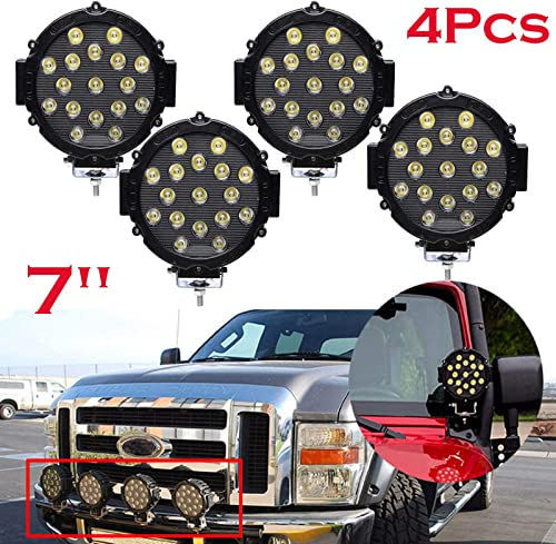 new arrival 4PCS 51W Round LED outlet online sale Work lowest Light Bar 7 Inch Spot Beam 30 degree IP68 Waterproof for Off-road Truck Car ATV SUV Jeep Boat 4WD, 5 Year Warranty sale
