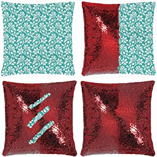 Huayuanhurug Teal Vintage Wallpaper Style Flower Patterns Magic Reversible Sequins Throw Pillow Case Decorative Changing Cushion Cover Pillowcase for Couch Sofa 18 Inch