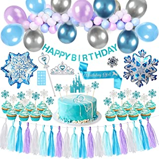Golray Frozen Birthday Party Supplies Girls Princess Elsa Birthday Party Decorations 53 Balloons, Birthday Banner, Paper Tassel, Sash, Pin, Frozen Cupcake Cake Topper, Foil Balloons, Frozen Tattoos, Frozen Crown and Wand, Frozen Party Supplies Birthday 2nd 3rd 4th 5th Decor
