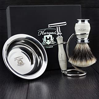 Sponsored Ad – Ivory Colour 4 Pieces Men's Shaving Kit with De Safety Razor,Sliver Tip Badger Hair Brush, Dual Stand for B...