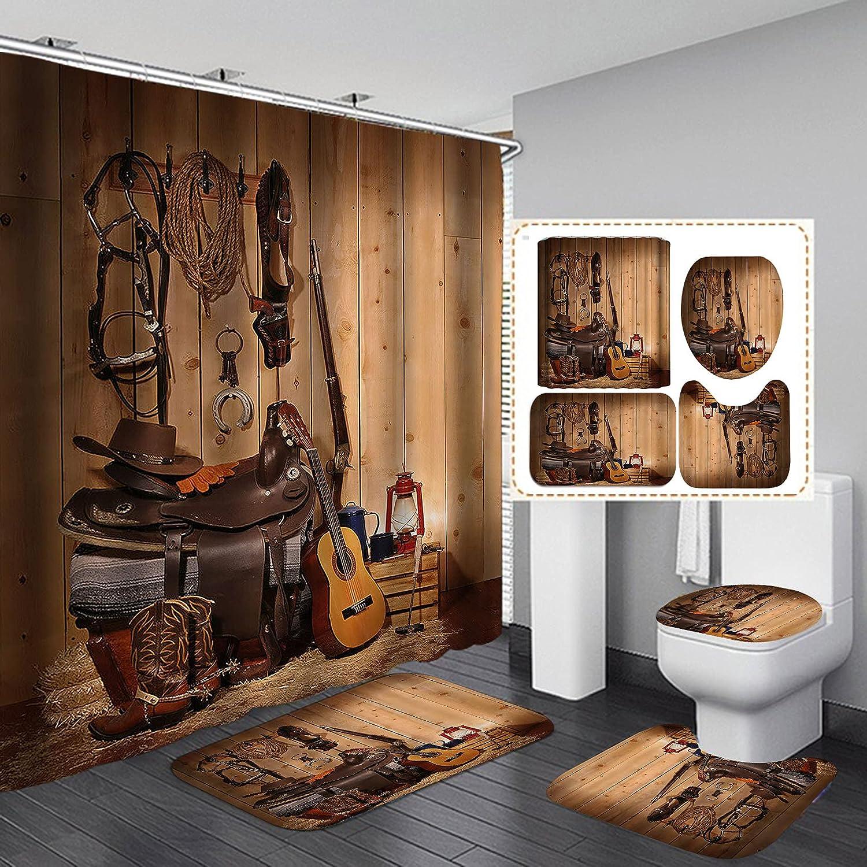Fashion_Man 4PCS sale Quality inspection Set Vintage Western Fabric Curtai Cowboy Shower