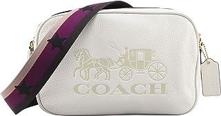 Coach Women's Jes Crossbody Double Zip Purse Horse Carriage Messenger Bag in Chalk, Style F75818