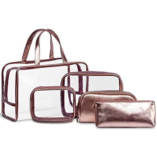 5 in 1 Clear Cosmetic Bag & Case Portable Carry on Travel Toiletry Bag Set Waterproof PVC Makeup Quart Luggage Pouch Jelly Transparent Beach Handbag Organiser for Men and Women (Rose Gold)