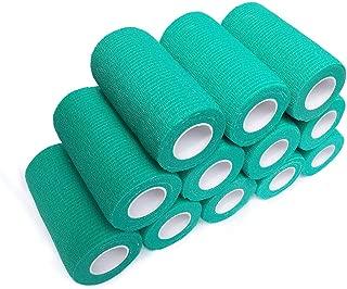 WildCow Vet Wrap Tape Bulk, 12 Pack Cohesive Bandage Wraps, Self Adherent Grip Rolls - Solid Colors