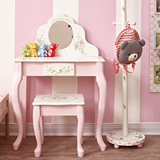 Fantasy Fields - Bouquet Thematic Kids Classic Vanity Table and Stool Set with Mirror   Imagination Inspiring Hand Crafted & Hand Painted Details   Non-Toxic, Lead Free Water-based Paint