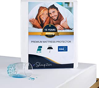 SLEEPZEN Protector de Colchon 200 x 220 cm Impermeable - Cubre Colchon Certificado Oeko-Tex® - Superficie de Vellón de Algodón 100% - Antibacteriano, Antimoho, Anti-Ácaros
