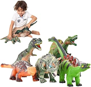 JOYIN 6 Pack 12'' to 14'' Educational Realistic Dinosaur Figures with Dinosaur Booklet