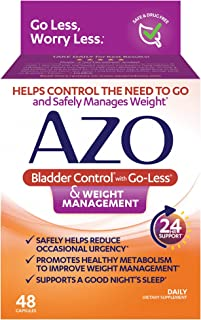AZO Bladder Control with Go-Less® & Weight Management Dietary Supplement |  Safely Helps Reduce Occasional Urgency* | Promotes Healthy Metabolism* | Supports a Good Night's Sleep* | 48 Capsules