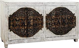 Marrakesch Aswa - Cómoda de estilo oriental (180 cm decorada a mano) color blanco