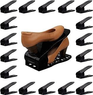 Organize Joy Shoe Slots, 18 Piece Set Plastic Shoe Holders, Closet Space Saver (Black)