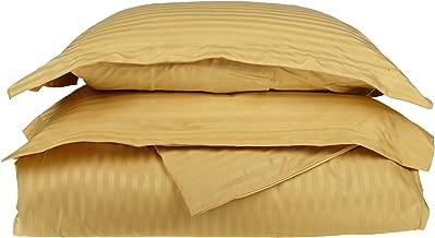 100% Egyptian Cotton 650 Thread Count King/California King 3-Piece Duvet Cover Set, Single Ply, Stripe, Gold