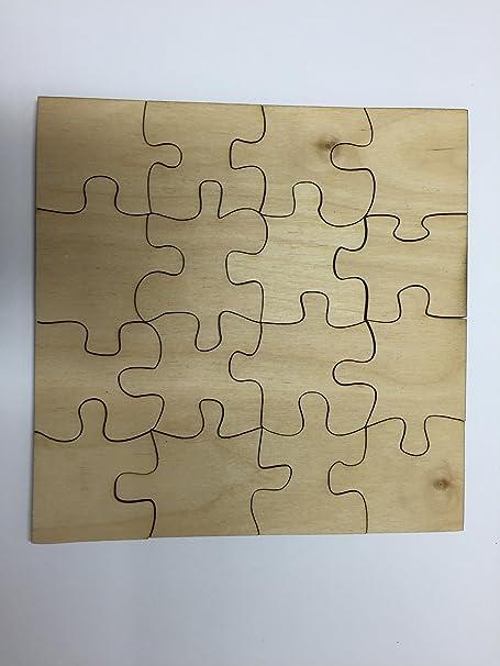 16 Piece Puzzle Unfinished Laser Cut Wood Shape Sixteen Pieces  PZL4