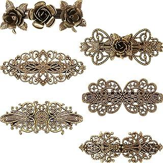 6 Pieces Vintage Hair Barrettes Retro French Hair Clips Metal Bronze Hair Pins for Women Girl Hair Accessory