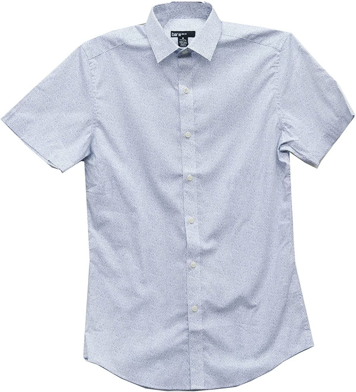 Bar III Men's Slim Fit Stretch Short Sleeve Dress Shirt Navy Flake