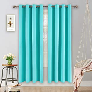 YGO Turquoise Curtains for Bedroom Living Room Thermal Insulated Innovated Microfiber Blackout Window Panels Light Blocking Drapes Grommet Top 52x84 Inch 2 Panels