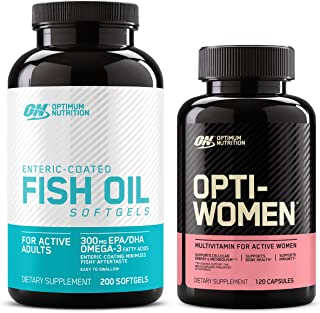 Optimum Nutrition Omega 3 Fish Oil, 300MG, Brain Support Supplement (200 softgels) with Opti-Women, Womens Daily Multivita...