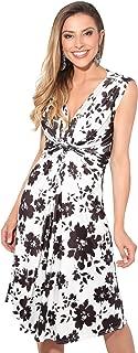 Women Ladies Sleeveless Floral V Neck Knee Long Stretch Midi Dress Summer Party