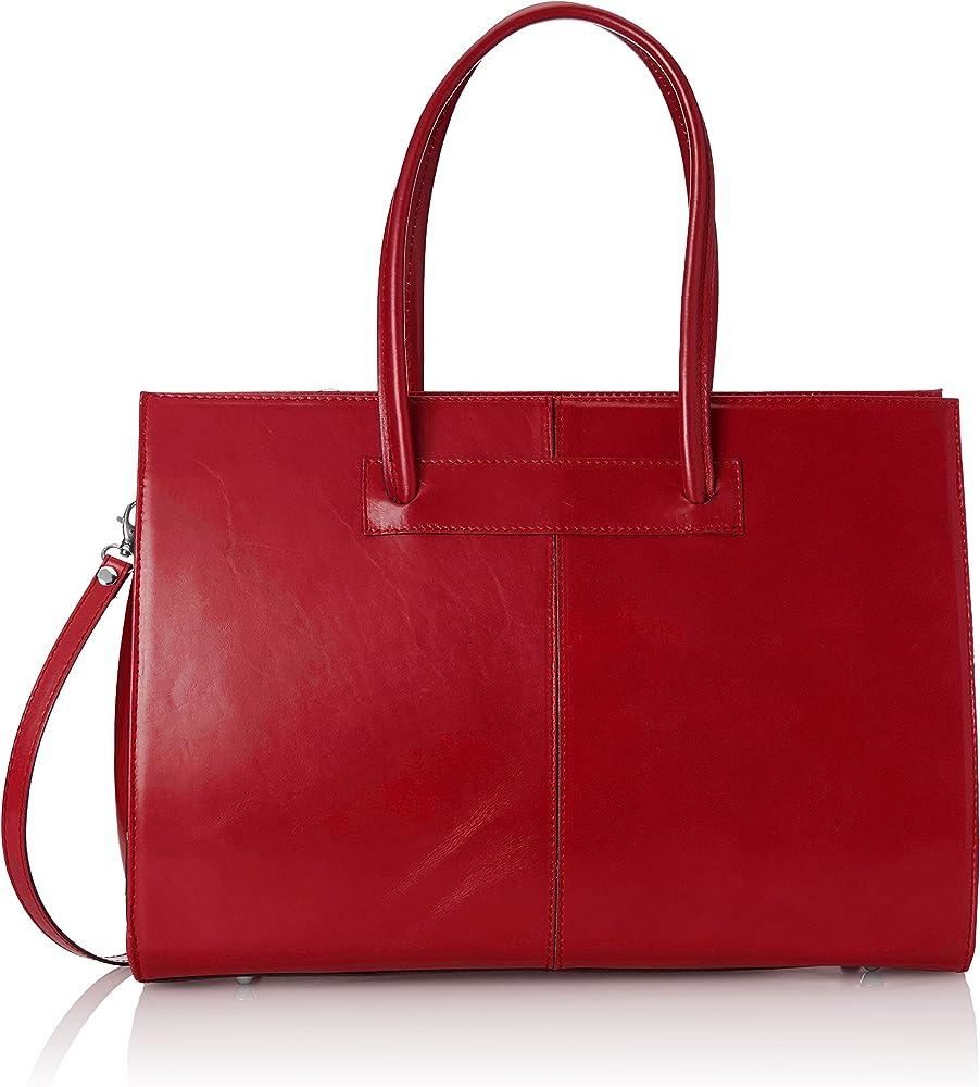Chicca borse, borsa a mano da donna, in vera pelle D9008-rosso