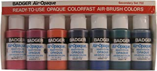 Badger Air-Brush Company Air-Opaque Water Based Acrylic Paint Secondary Set, 1-Ounce Each, Set of 7