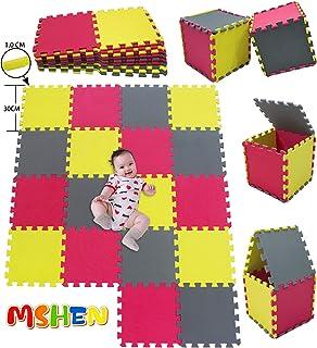MSHEN18 Piezas Alfombra Puzzle Bebe con Certificado CE y certificación EVA | Puzzle Suelo Bebe | Puede ser Lavado Goma eva,Tamaño 1.62 Cuadrado,amarillo-rojo-gris-EILg18