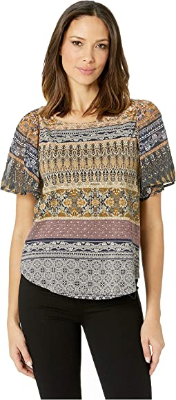 Printed Woven Mix Top