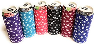 Baxendale's Slim Can Coolie Sleeve Cute Animal Dog Paw Prints 6-Pack Tall Skinny Neoprene Can Cooler Insulator- Perfect for 12 Ounce White Claw, Truly, Red Bull Energy Drinks, Michelob Ultra Beer
