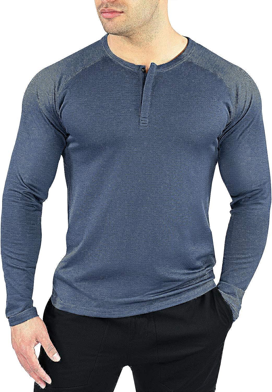 Contour Dry Fit Long Sleeve Shirts for Men's Henley Quantity limited Men Lo Sale price