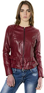 D'Arienzo Giacca in Pelle Donna Bordeaux Vintage Balze Primaverile Vera Pelle Giacca Made in Italy F105BL